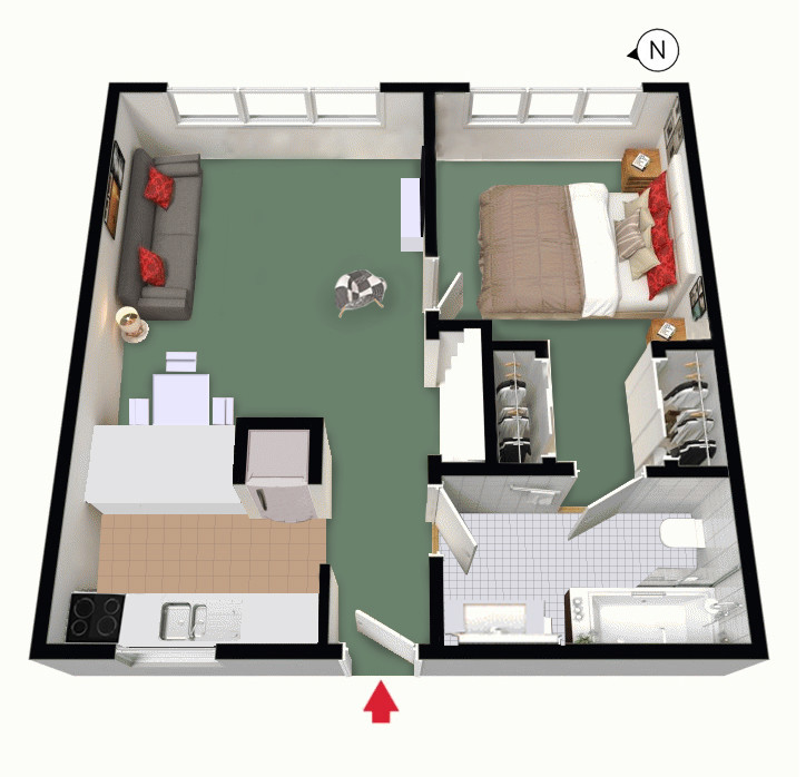 Floor Plan of Unit 25 Economy 1 Bedroom Apartment of South Yarra Stays