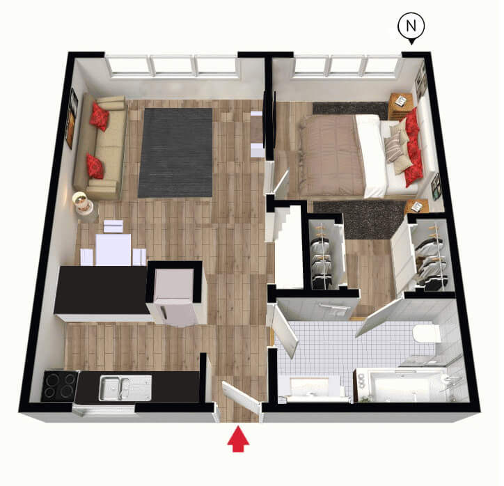 Floor Plan of Unit 18 Mid Range 1 Bedroom Apartment of South Yarra Stays